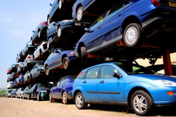 Vehicle stroage racks full of cars