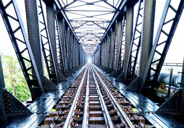 Railway on metal bridge