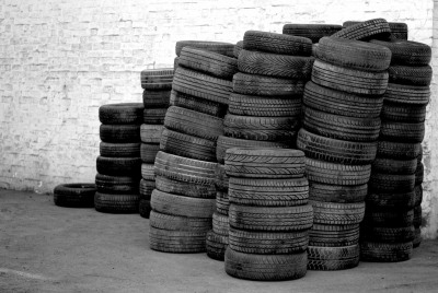 Stacks of tyres for recycling