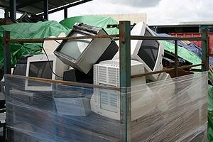 WEEE crate of CRT monitors