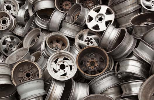 Pile of alloy wheels